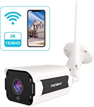 Cámara de Vigilancia Exterior, CACAGOO 1536P HD Cámara IP Wi-Fi CCTV Inalámbrica 2.4Ghz, Impermeable IP66, Versión Nocturna,Detección de Movimiento, Empuje de Alarma, ,Vista Remota con Android/iOS/PC