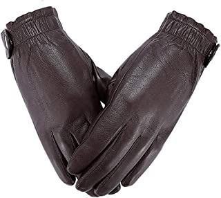 WHPSTZ Sheepskin Winter Plus Velvet Warm and Windproof Waterproof Locomotive Riding Leather Touch Screen Gloves Cashmere Gloves (Color : Brown, Size : M)