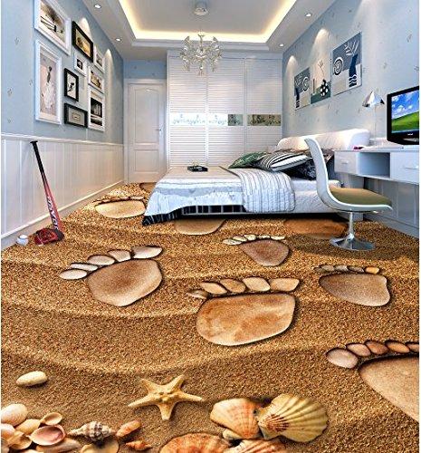 Wongxl Der Strand, Malerei Footprints 3D Bodenfliesen Fliesen Im Badezimmer Schlafzimmer 3D Bild 150cmX100cm
