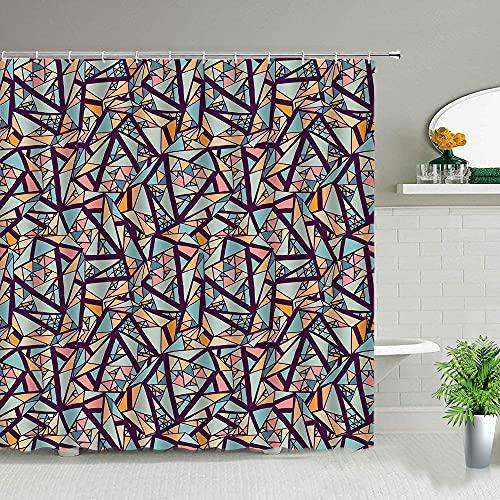 XCBN Geometrisch Bedruckte Duschvorhänge Böhmische Blume Bunte Mode Badezimmer Art Decor Wasserdichter Stoff Mit Haken A14 150x200cm