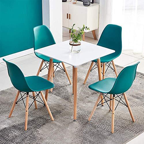 YVX Juego de 4 sillas y Mesa de Comedor Cuadrada Moderna para Comedor, Cocina, hogar/Oficina, Asiento Acolchado de Retazos, diseño escandinavo y Retro, Gran decoración para tu...
