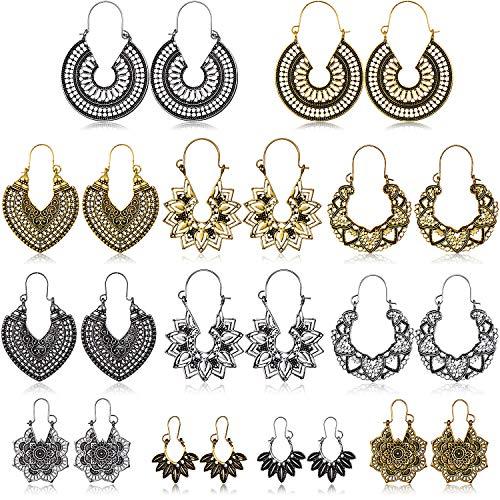 Vintage Ohrringe Boho Stil Tropfen Baumeln Ohrringe Hohlen Wassertropfen Ohrringe Retro Tribal Hohlen Ohrringe Set, 12 Paare (Stil Set 1)