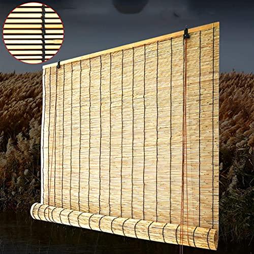 AINUO - Estor enrollable de bambú, cortina decorativa vintage, cortina de paja, parasol transpirable (tamaño: 140 x 280 cm)