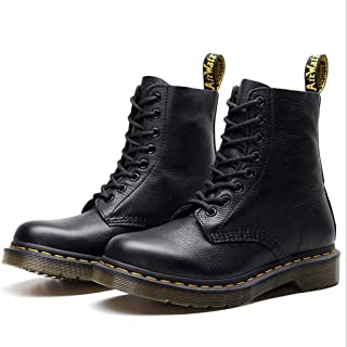 Dr. Martin unisex boots high-top leather boots couple round head short boots black locomotive ankle boots thickened wear-resistant boots eight-hole lace-up boots (Color : Black, Size : 37)