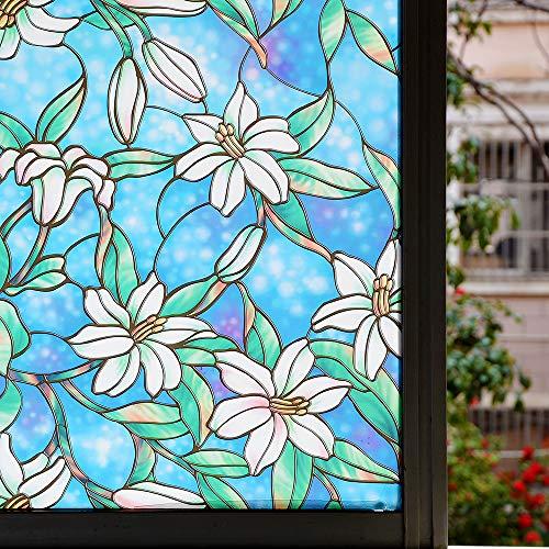N / A Farbe Hauptdekoration elektrostatische Aufkleber Schutz Privatsphäre Fensterfolie Vinyl Selbstklebende Blumenmuster Glasaufkleber Küche Bad Wohnkultur Folie A52 50x100cm