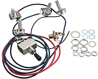 oneflysky LP Electric Guitar Wiring Harness Kit Replacement, 2T2V 3 Way Toggle Switch 500K Pots&Jack for Dual Humbucker Gibson Les Pual Style Guitar, Black Tip
