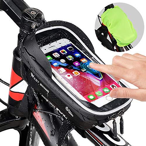 Fahrrad Rahmentasche wasserdichte Fahrradtasche Oberrohrtasche Handytasche mit Sonnenblende Kopfhörerloch Handyhalter Fahrradlenkertasche TPU Touchscreen Fahrrad Tasche für Smartphones bis 6.5 Zoll