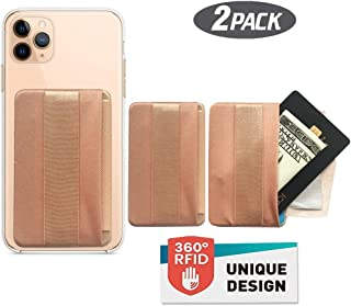 WUOJI [2PCS] RFID Blocking Phone Grip Card Holder with Flip,Self Adhesive Finger Strap Phone Pocket,Phone Card Wallet Card Sleeves Phone Wallet Sticker for All Smartphones (Lid-Gold)