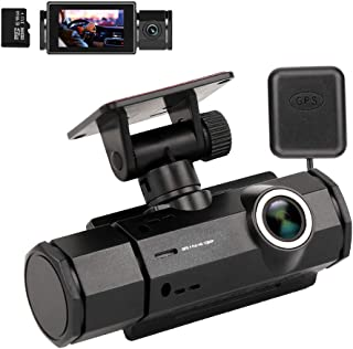 Dash Cam with Night Vision, XQCK Car Dashboard Camera 1080P FHD Driving Recorder Wide Angle, GPS Track Playback, G-Sensor, Loop Recording, Motion Detection, Parking Monitor,16G TF Card