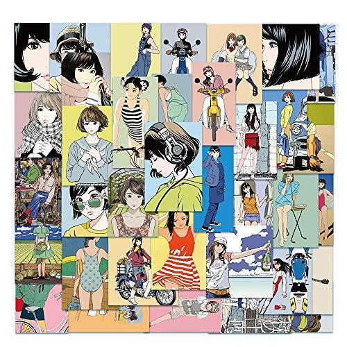 TUHAO Japanese Manga Girl Small Fresh Stickers Luggage Laptop Mobile Computer Decoration Stickers Toys Wholesale 50Pcs