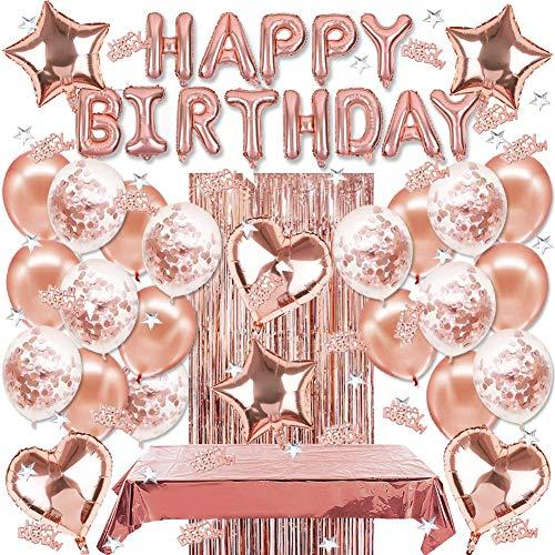 Sunshine smile geburtstagsdeko ,Geburtstag Dekoration Set,Happy Birthday Girlande,konfetti Ballons Gold,Herz folienballon,Stern folienballon,tischdecke,Glitzer Vorhang,Happy Birthday deko (Roségold)