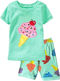 Popshion Little Girls Pajamas Short Sleeve 100% Cotton Toddler Pjs Clothes Sleepwear Sets Size 2 to 8 Years