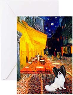 CafePress Cafe & Papillon Greeting Card (20-pack), Note Card with Blank Inside, Birthday Card Glossy