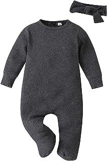 2 قطع طفل رضيع فتاة رومبير الشتاء الملابس الوليد الصلبة مضلع بذلة الملابس+عقال مجموعة (Color : Gray, Size : 9-12 Months)