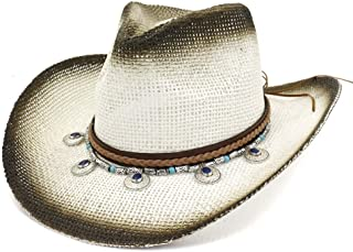 XinLin Du Western Cowboy Hat Spray Paint National Wind Straw Hat Women Men Outdoor Seaside Sun Hat Protection Sun Hat Pendant Beach Hat