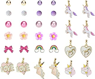 Sunovelties 16 Pairs Unicorn Favors Earrings Set - Unicorn Dangle Drop Earrings, Pearls Ball Heart Rainbow Daisy Flowers Studs Gift Packing for Kids Girls Women, Hypoallergenic