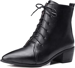 Women Lace Up Pointed Toe Ankle Boots