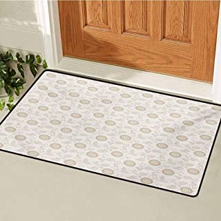 BIRSY Cream Inlet Outdoor Door Mat Abstract Sunflower Motifs In Antique Style Romantic Old Fashioned Scroll Inspired Catch...
