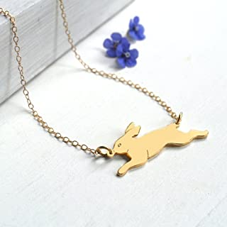 Personalised Gold Running Bunny Rabbit Necklace, gift for bunny lovers, bunny jewellery, rabbit necklace