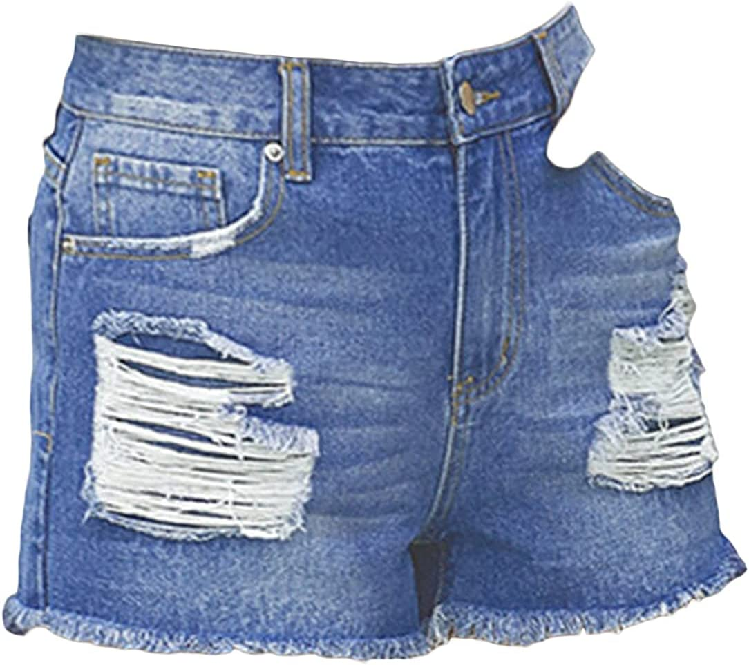 Women Ripped Cuffed Denim Shorts Casual Distressed High Waist Destroyed Jean Shorts Washed Rolled Hem Holes Short Jeans (Blue,Large)