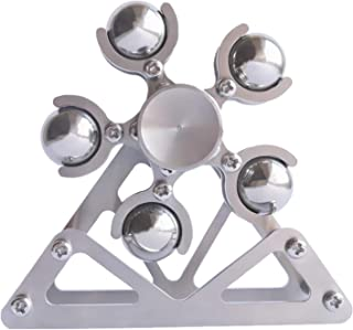 DMaos Ferris Wheel Fidget Spinner, Desk Toys Spin with Stand, Smooth Metal Stainless Steel Ceramic Stable Bearing EDC, High Speed Colorful Marble Rainbow, Premium Figit Toy for Adults Kids - 10 Balls