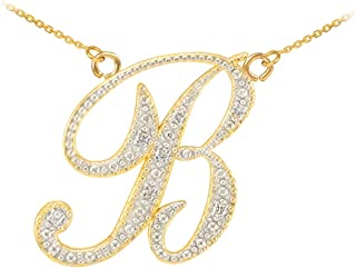 Double-Mounted 14k Yellow Gold Diamond Script Initial Letters