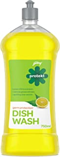 Godrej Protekt Germ Protection Dish Wash Liquid Gel – Removes Grease, Fragrance: Lime (750ml)