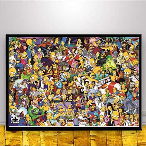 Arte De Pared The Simpsons Scream Anime Cartoon Comics Simpson Poster Picture Carteles E Impresiones Pintura Sobre Lienzo Para La Habitación Decoración Para El Hogar A244 (40X50Cm) Sin Marco