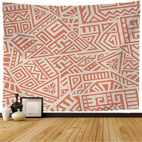 NA Tapiz de Pared Línea Tradicional Maya Único Geométrico Hecho Adornos Patrón Africano México Azteca Perú Tapiz Gráfico Colgante de Pared Tapiz de Playa para Decoración del Hogar