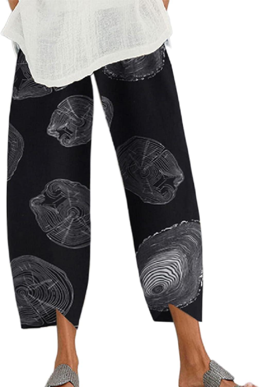 Women's Wide Leg Trousers Loose Fit Floral/Wood Pattern Elastic Waist Pants