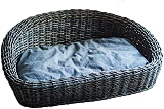Natural Wicker Basket,Cotton pad pet nest cat Litter Kennel Retro Style Dirty Clothes Storage Baskets-Gray 61x45cm(24x18inch)