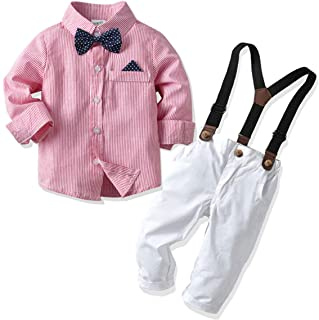 Baby Boys Formal Outfit Toddler Boys Gentleman Set Long Sleeves Shirt+Suspender+Pants+Bow Tie 4Pcs Wedding Suit