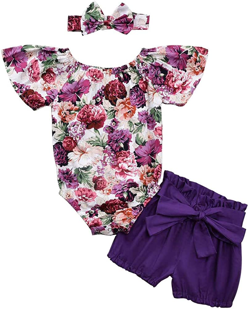 Toddler Baby Girl Outfits Summer Ruffle Halter Button Top Short Pants Clothes Set