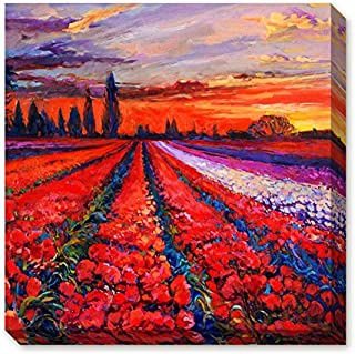 Donglin Art-Framed Oil Painting Print Landscape of Blossoms of Red and Purple Tulip in the Sunset Rosy Clouds for Home and Hotel Decor Ready to Hang (12×12 inch/ 30 ×30 cm)