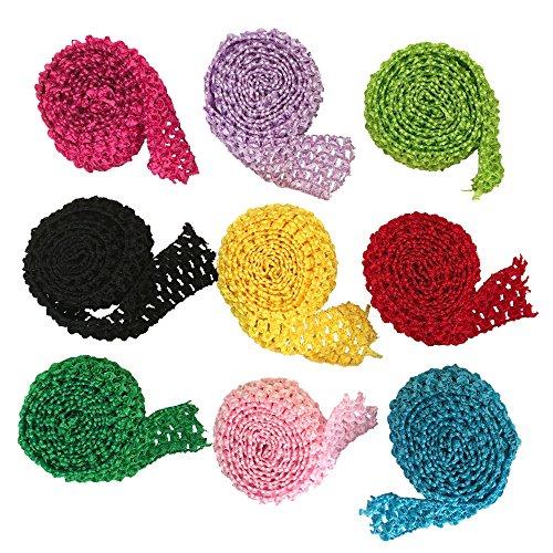 "9 Meters Mixed Color Tutu Supplies 1.5"" wide Crochet Headband Trim Tutu Waistband"