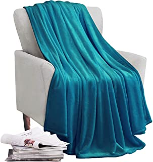 KAWAHOME Flannel Fleece Blanket Lightweight Warm Fuzzy Soft Microfiber Blankets All Season for Bed Couch Sofa Throw Size 50 X 60 Inches Teal