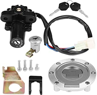 Ejoyous Motorcycle Ignition Lock Ignition Switch Seat Lock Fuel Gas Cap Ignition Switch Seat Lock W/Key Set for YZF R1 R6 FZ6 01-12