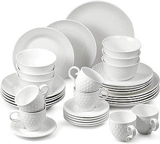 suntun Service de Table 6 Personnes, 36 pièces Blanche Services Complets Vaisselles, Moderne Porcelaine Assiettes Creuse, ...