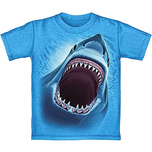 d7de59a7 Dawhud Direct Great White Shark Turquoise Youth Tee Shirt