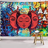 PROCIDA Sun and Moon Tapestry, Psychedelic Burning Sun Wall Hanging, Colourful Trippy Wall Decor for Bedroom Aesthetic,Extra Large Tapestry Hippie Dorm Room,80' W x 60' L