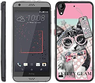 TurtleArmor | Compatible with HTC Desire 530 Case | Desire 630 | Desire 550 [Flexible Armor] Ultra Slim Flexible Clear TPU Case Fitted Soft Bumper Cover Girls - Stylish Kitty