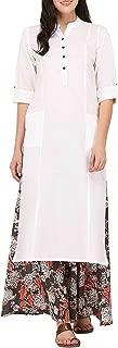 Ladyline Women's Pure Cotton Plain Tunic Top 3/4 Sleeves Roll-up Button Neck Pocket Long Kurti Kurta