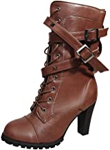 Aniywn Women's Leather Boots High Heel Lace Up Mid-Calf Buckle Motorcycle Cowboy Ankle Booties