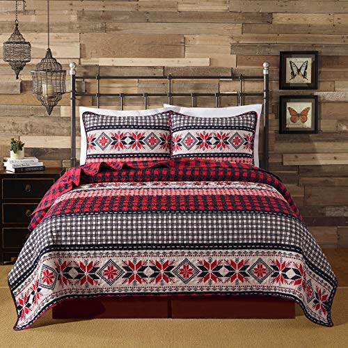 Soul & Lane Season of Joy Plaid Bedding Quilt Set - Queen with 2 Shams   Christmas Buffalo Check Lightweight Quilted Bedspread