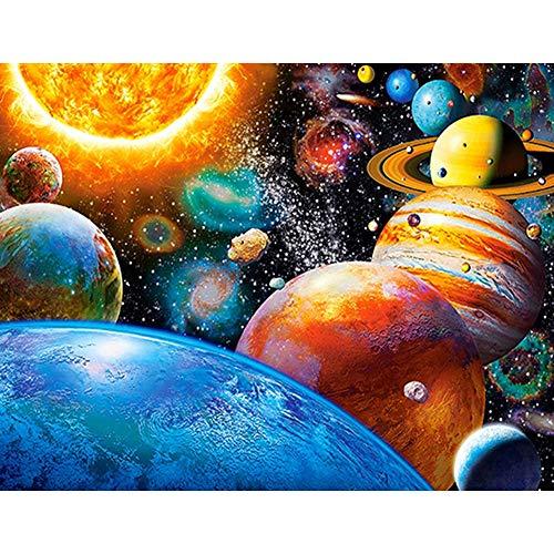 Kits de pintura de diamante 5D faça-você-mesmo por números para adultos, pintura de planeta redonda, ponto de cruz, cristal, strass, bordado, arte para decoração de parede de casa, presente, espacial, estrelas, planetas, 50 x 40 cm