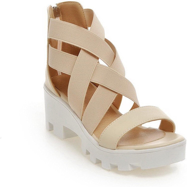WeenFashion Women's Open Toe Zipper Pu Solid Kitten Heels Sandals