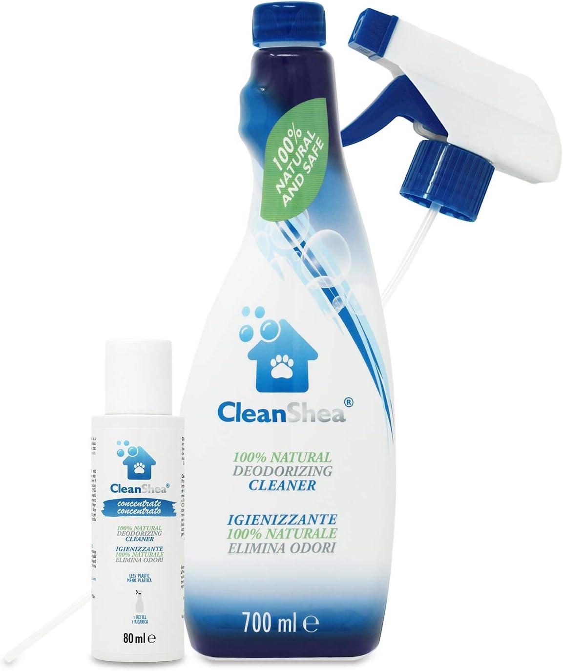 CleanShea Spray desinfectante 100% Natural, Elimina los olores de los Animales, Spray desinfectante para Pieles, Accesorios para Animales y Superficies, ecológico y Seguro, 1400 ml(Botella + Recarga)