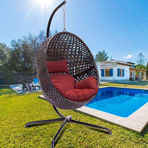 Luxury Large Egg Hanging Chair with Stand Rattan Wicker Outdoor Porch Swing Ox Eye Woved Modern Hanging Egg Chair Heavy Duty Egg Swing Chair for Outdoor Patio Balcony Garden Decoration (Brown)