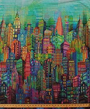 Cotton New York City Sky Line Skyline Cityscape City Scape Skyscraper Tower Buildings Urban Rainbow Multi-Colored Digital Print Cotton Fabric Print by Yard  N4234-130