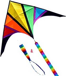 Besra 110inch Rainbow Delta Kite with windsock & 10m Long Tail for Kids and Adults Outdoor Fun Sports for Beach & Park